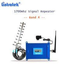 Lintratek aws repetidor banda 4 1700mhz gsm repetidor de sinal de celular celular impulsionador de sinal 2g 3g 4g amplificador 10m cabo