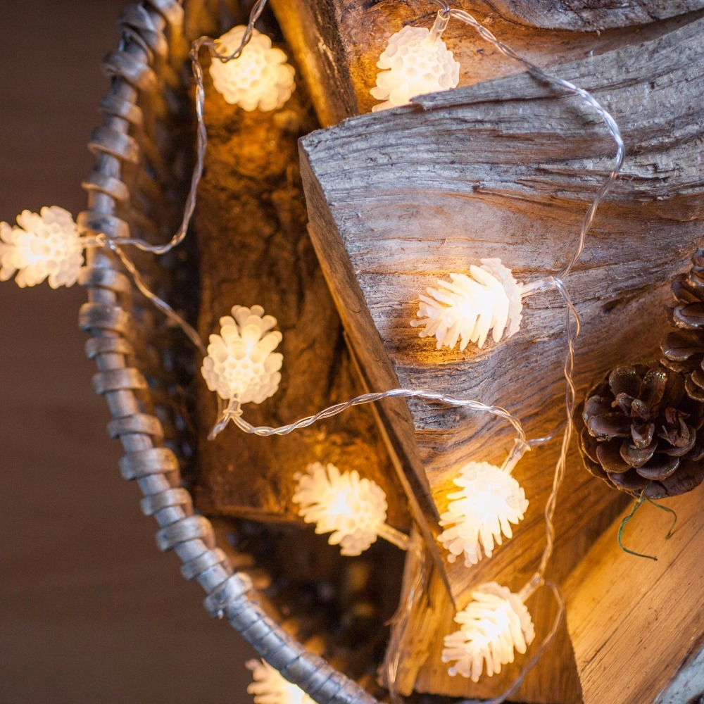 Long String Lights Indoor : 20LED 3.3M PineCone Shape Holiday Fairy String Lights Battery Operated on 10ft Long String ...