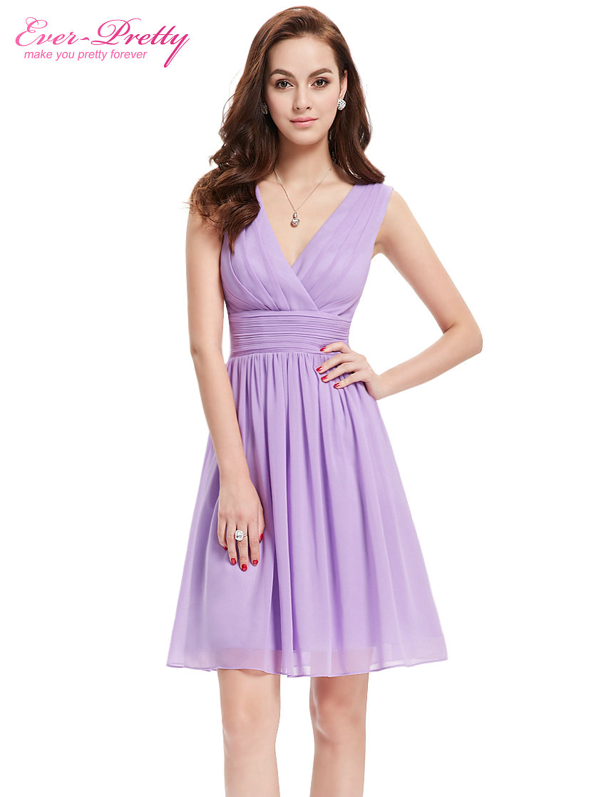 Elegant Chiffon Cocktail Dresses Ever Pretty EP03989 Double V neck ...
