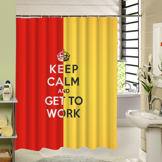 CHARMHOME Keep Calm And Get To Work Inspiring Custom Fabric Shower Curtain Red Yellow Polyester Cloth