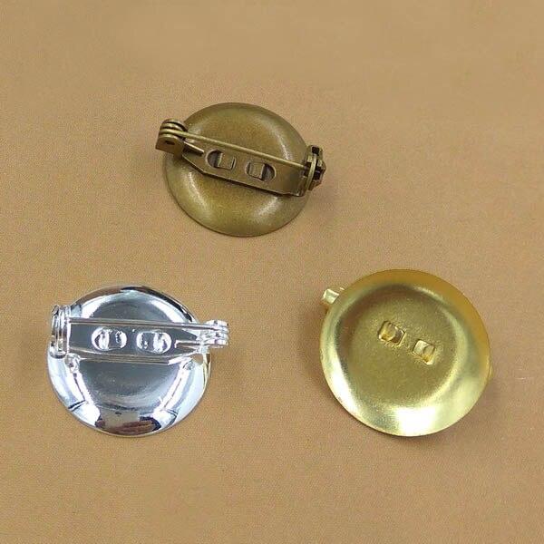 Custom Cameo Resin Pins Diy: 19mm Blank Brooches Base Circle Bezel Back Pins Resin