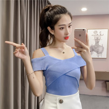 Women Knitting Off-shoulder Tank Tops Camises Girls Knitted Camisole Sleeveless Sweater T-shirts Camis Top for Female