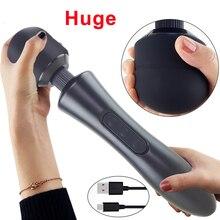 Ogromne wibratory magiczna różdżka dla kobiet, USB Charge Big AV Stick kobieta G Spot Massager stymulator łechtaczki dorosłych Sex zabawki dla kobiet