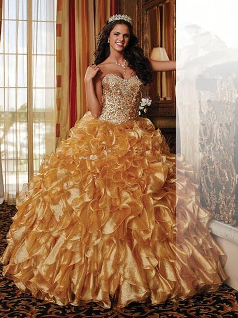 2016 Do Vintage Vestidos Quinceanera Com Querida Strapless de Cristal Frisado vestido de Baile Vestidos de Organza Ouro