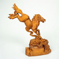 Boxwood Animal carved wood horse racing handmade Designer home furnishings festival gift creative office desktop decoration