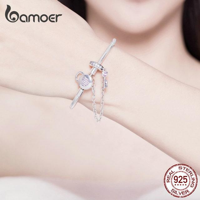 BAMOER Silver Snake Bracelets  925 Sterling Silver Pink CZ Heart Lock and Key Safety Chain Charm Bracelet for Women Gift SCB143