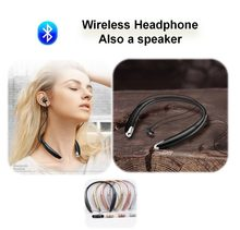 2 in 1 Magnetic Bluetooth Earphone with Mic Wireless Speaker Sports Running Necklace For Xiaomi Huawei Car iPhone Universal(China)