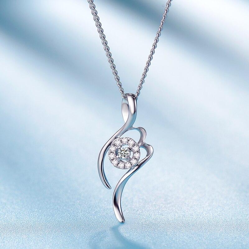 0.02ct/CenterStone+0.03ct/11pcs/SideStone Love 18K Gold Diamond Pendant for Women Fashion and Fine Jewelry for Wedding
