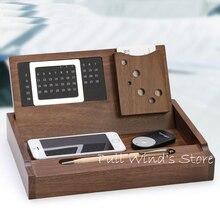 Краткое деревянный многофункциональный офис ящик для хранения Настольных отделка Календарь и Хранения визитная карточка