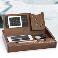Brief Wooden Multifunction Office Storage Box Desktop Finishing Calendar And Business Card Storage