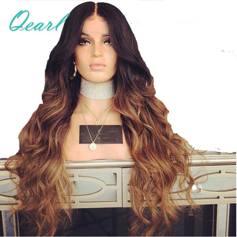 Довольно Волнистые 24 26 28 три тона Ombre коричневые Синтетические волосы на кружеве натуральные волосы парики 13*4 предварительно сорвал Волос...