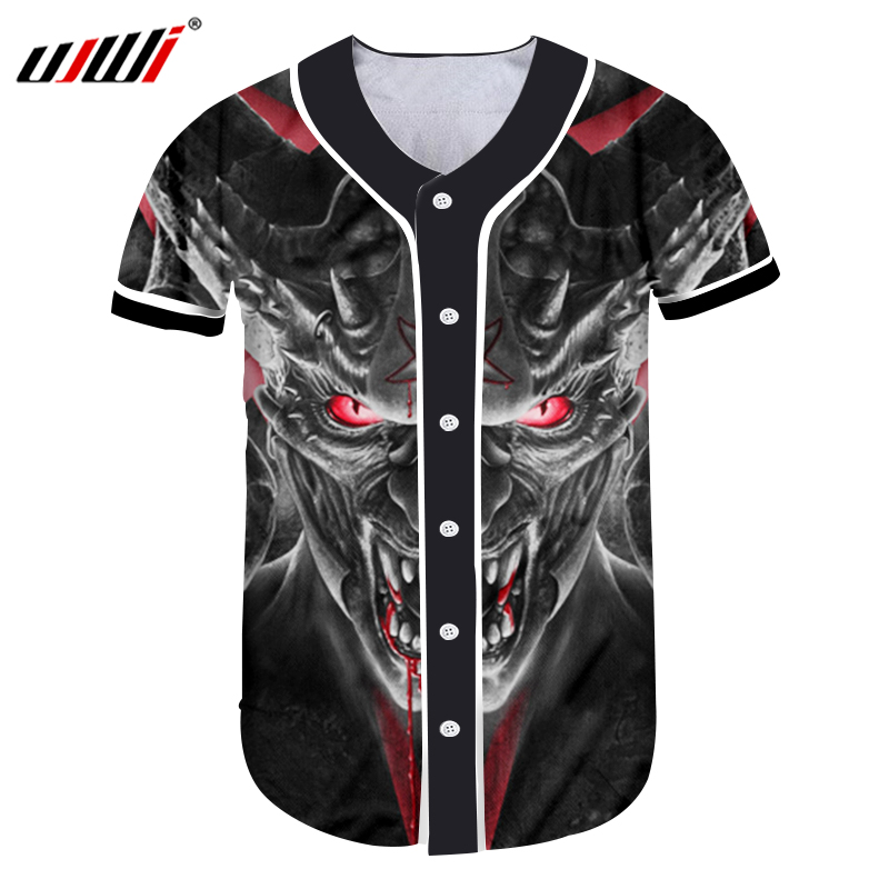 UJWI Men's Jerseys Baseball Cool Print <font><b>Red</b></font> Eyes Horn <font><b>Bull</b></font> Skull 3d Tshirts Summer Tops Workout Exercise Fitness Button <font><b>Shirts</b></font> image