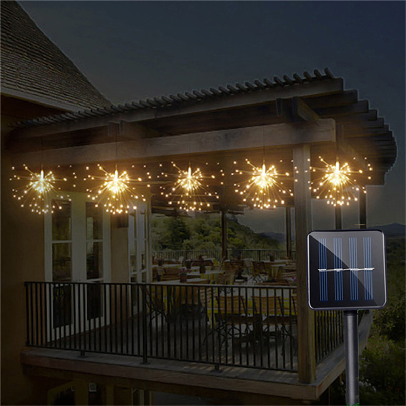 Solar Powered Hanging Starburst String Light 200 Leds DIY Copper Fairy Garland Christmas Wedding Party Twinkle Lights 200 leds diy hanging starburst string light solar powered firework copper fairy garland christmas wedding twinkle lights ca79