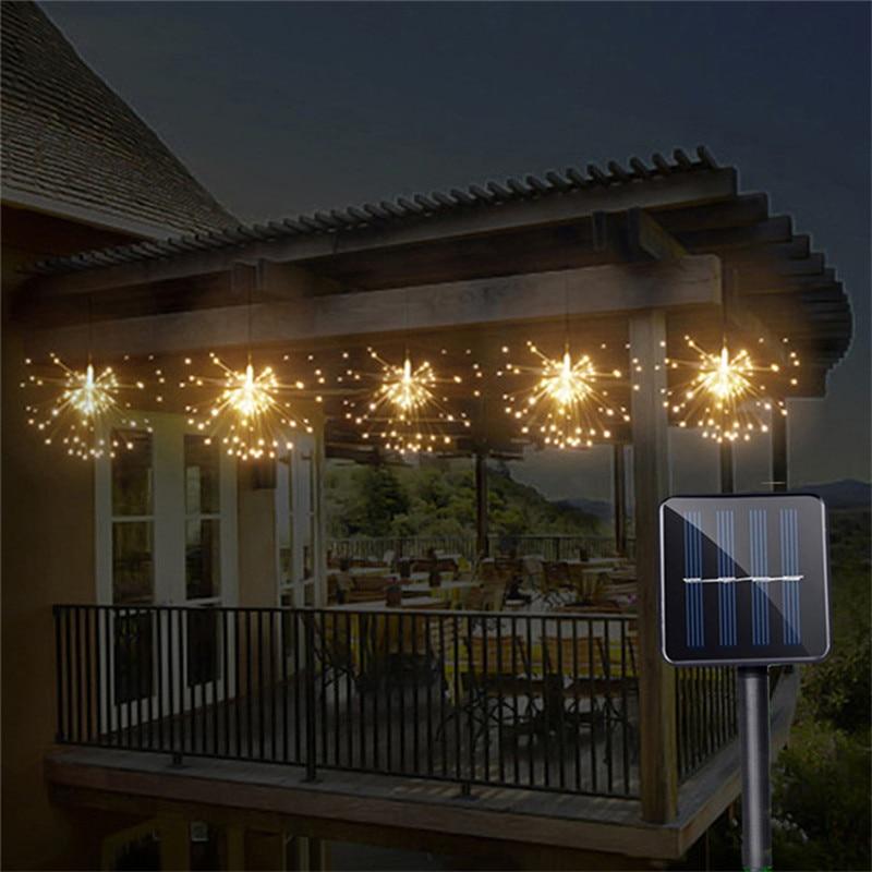 Solar Powered Hanging Starburst String Light 200 Leds DIY Copper Fairy Garland Christmas Wedding Party Twinkle Lights