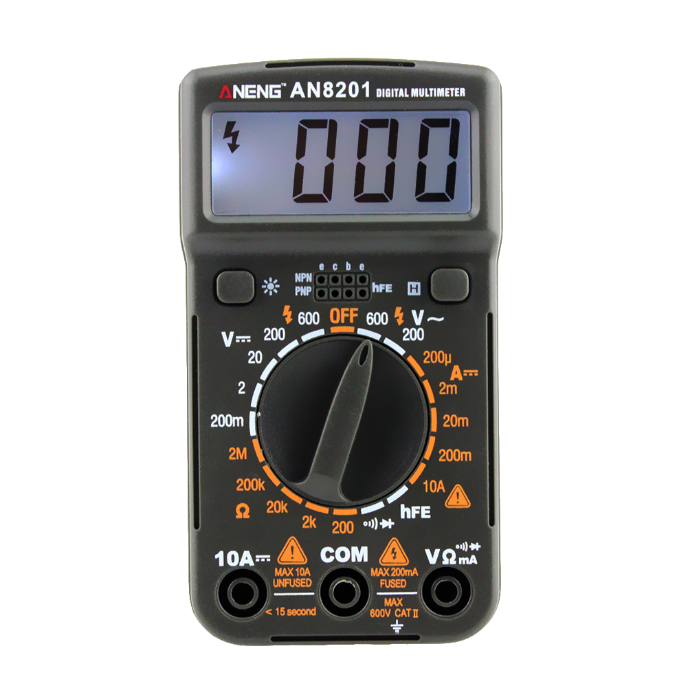 Pocket Size Mini Digital Multimeter Bright Blue Backlight AC/DC Ammeter Voltmeter Ohm Tester