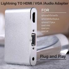 2018 новые для молнии iOS 11 HDMI, VGA, аудио Headpone воспроизводить музыку с зарядный кабель адаптер для iPhone 7 8 для iPhone X