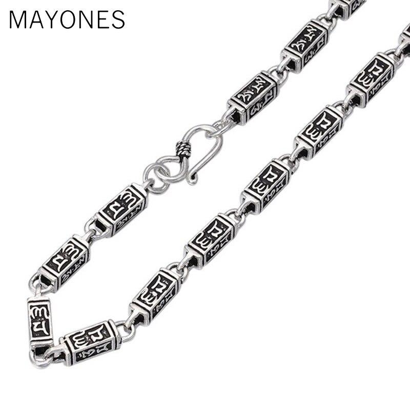 6mm cuboïde chaîne colliers 925 argent 50 cm à 65 cm mode Original S925 Thai argent femmes hommes collier bijoux Punk Mantra