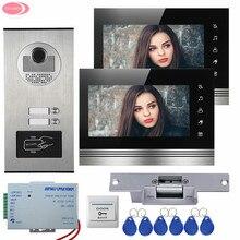 """Daire 7 """"renkli Görüntülü Kapı Telefonu Interkom Sistemi 2 Monitörler Dokunmatik Kye + RFID Erişim Kapı Kamera 2 Düğmeler + Elektrikli Strike kilit"""