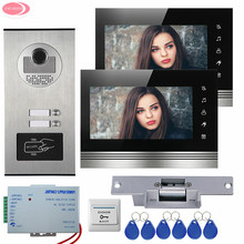 Apartment 7″ Color Video Door Phone Intercom System 2 Monitors Touch Kye +RFID Access Door Camera 2 Buttons+Electric Strike Lock