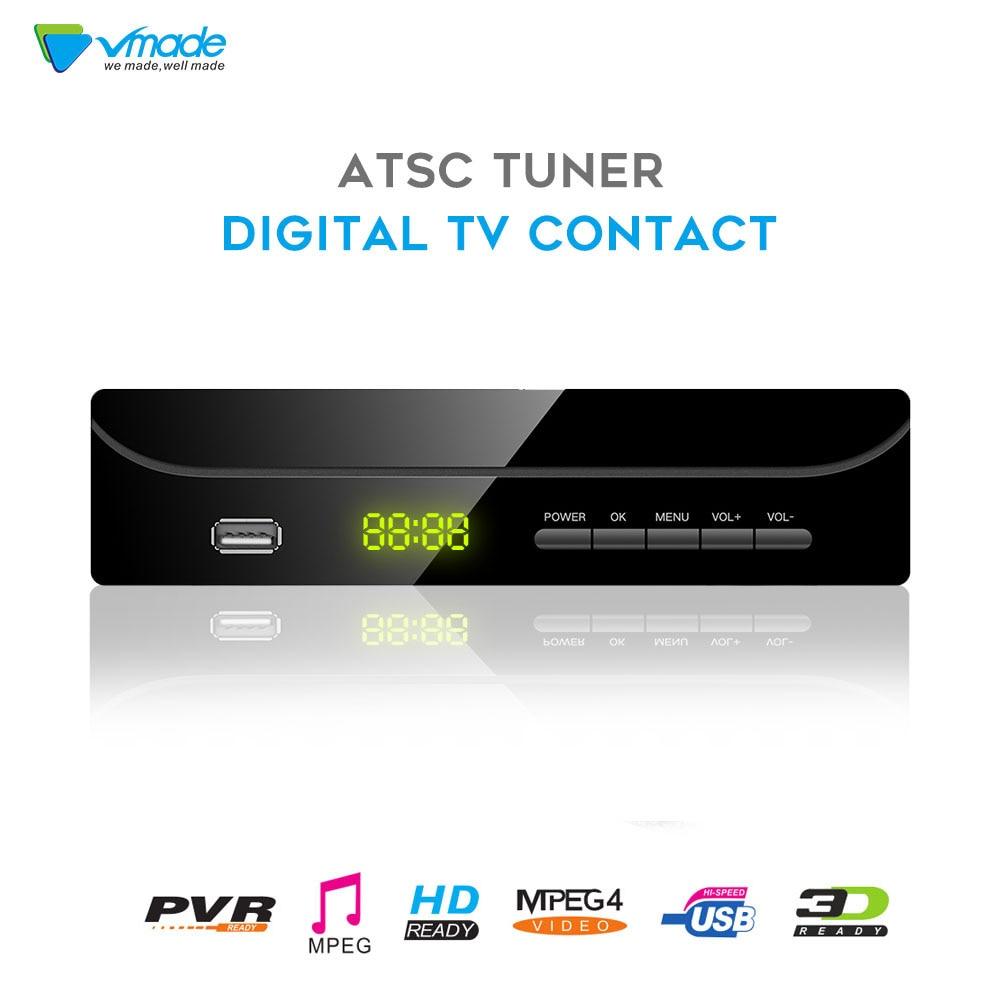 Vmade Newest Original DVB ATSC Q1 Digital Terrestrial TV Receiver Tuner Support PVR MPEG-2 / 4 H.264 HD 1080p DVB TV Box For USA