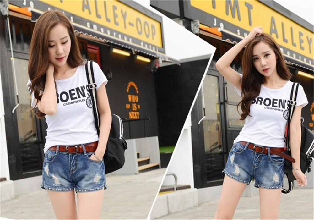 Mainland Retro Mid waist Women Short Jeans Woman Denim Female Wild Short-Pants Summer Loose Short Fashion Plus size Short jeans  (21)