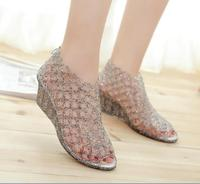 Thick Wedge Bottom Crystal Jelly Shoes Flat Beach New Hole Hole Shoes Sandals For Women S