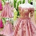 Amostra Real rosa vestido de baile Stain vestido de noiva Lace pescoço detalhes Beading casamento de luxo vestidos para casamentos ( WDS-119 )
