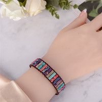 Boho Tube Shape Natural Stone Beaded Bracelet Unique Friendship Leather Bracelet Dropshipping Single Leather Wrap Bracelet 5
