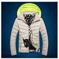 Код плюс размер М-5XL 2016 мода молодой мужской хлопок хлопок ватник с капюшоном Японский тонкий стильный горячая продажа
