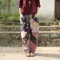 2016 Mujeres del Resorte Pantalones de La Flor Imprimir Plaid Patchwork Étnico Cruz Pantalones Harén Cintura Elástica Pantalones de Pierna Ancha Pantalones Largos