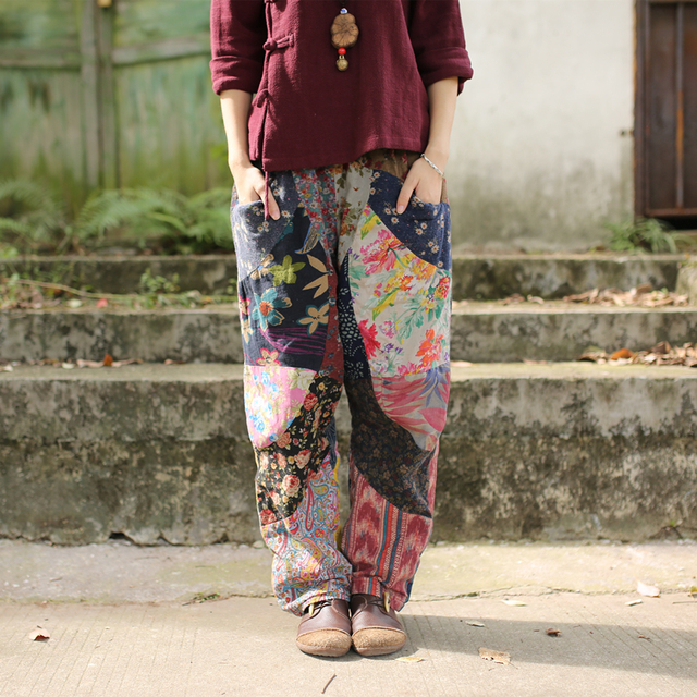 2016 Spring Women Trousers Flower Print Plaid Patchwork Ethnic Cross Pants Elastic Waist Harem Pants Wide Leg Long Trousers