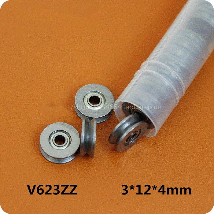 10pcs HCS Deep V Groove Sealed Guide Line Track Pulley Ball Bearing 3*12*4mm 5pcs lv20 10 v groove 10 30 14mm sealed ball track roller guide vgroove bearing