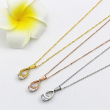 Water drop shape with gleam rhinestone Pendant rose gold silver necklace bijoux 316l Stainless Steel Chain