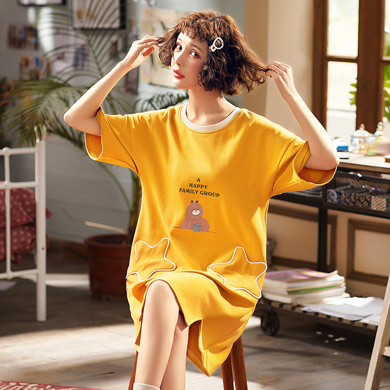 Yidanna Women Cotton Short Sleeved   Nightgown   Summer Cute Cartoon   Sleepshirt   Plus Size O Neck Nighty Female Sleep Casual Clothing
