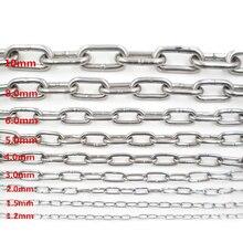 304 цепочка из нержавеющей стали, Толстая железная цепь для домашних животных, цепь для собак 1,5 мм/2,0 мм/3,0 мм/4,0 мм/568 мм, люстра, подвесная железная цепь для одежды