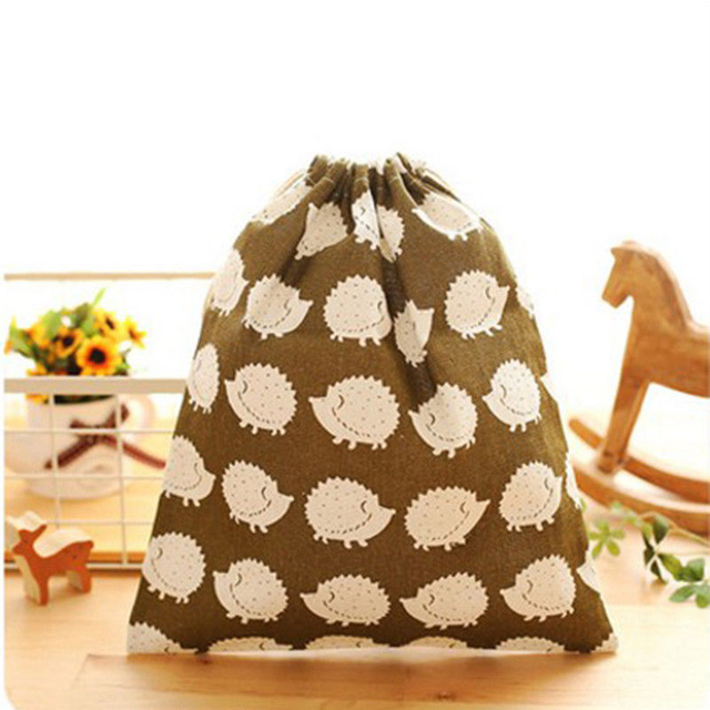 32 * 25 cm Hedgehog pattern Cloth travel bag pocket bag Cloth Shoes Laundry Lingerie Makeup Pouch Storage Organization Supplies