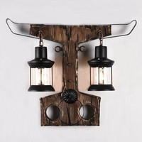Loft Ngau Tau decoration solid wood wall lamp American style retro art wind creative personality coffee shop bar