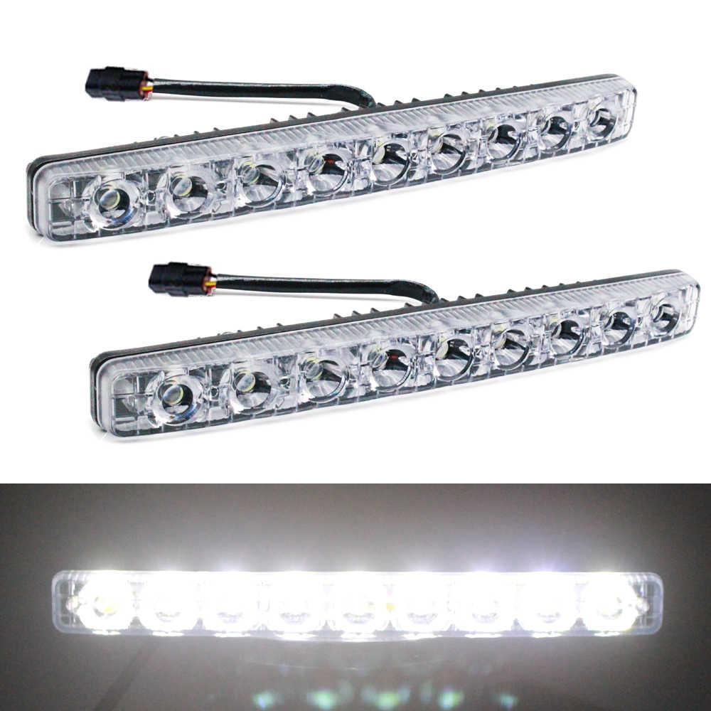 YIJINSHENG Car Universal Fit 9 LED High Power LED Daytime Running Lights DRL Kit Extreme Super Bright Spot Fog Lamp Xenon White