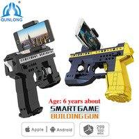 Qunlong 2 Stijlen AR Smart Game Bouwstenen Baksteen Speelgoed Pistool Android IOS Mobiele Telefoon Standhouder Speelgoed Pistool Voor Kinderen Jongen Meisje Gift