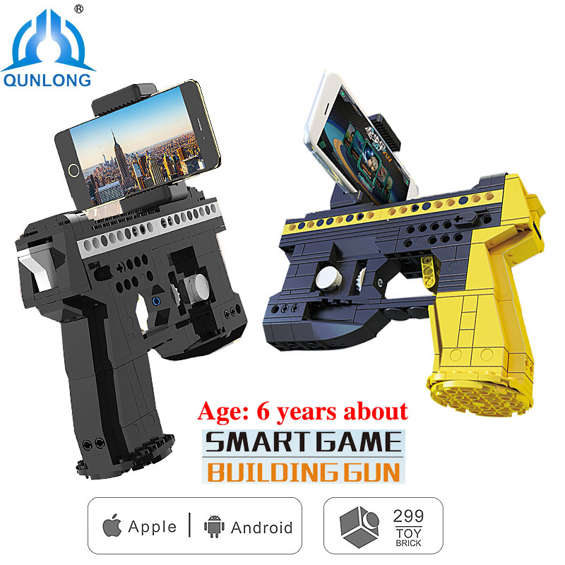 qunlong 2 Styles AR Smart Game Building Blocks Brick Toy Gun Android IOS Cell Phone Stand Holder Toy Gun For Kids Boy Girl Gift