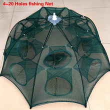 Foldable 4-20 Holes Fishing Network Crab Shrimp Ultralight Fishing Landing Net Network Fishing Mesh Fish Trap rede