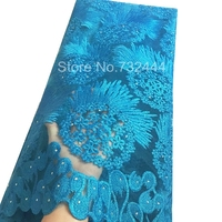 Turquiose Blue African Lace Fabrics High Quality For Wedding Gold White Purple Coral African Net Lace