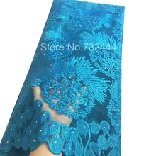 Turquoise Blue African Lace Fabrics High Quality For Wedding,Gold White Purple Coral African Net Lace French Lace 2017(China)