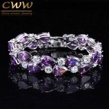 CWWZircons Design Purple Crystal Large Mona Lisa Bijoux Bracelets & Bangles Clear Zircon Bracelet Femme Fashion Jewelry CB126