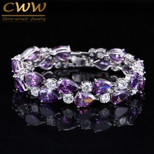 CWWZircons Designer Purple Crystal Large Mona Lisa Bijoux Bracelets Bangles Clear Zircon Bracelet Femme Fashion Jewelry CB126(China)
