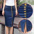 European British style cotton cowboy denim women skirts plus size S-6XL fashion single breasted elastic package hip skirt N35
