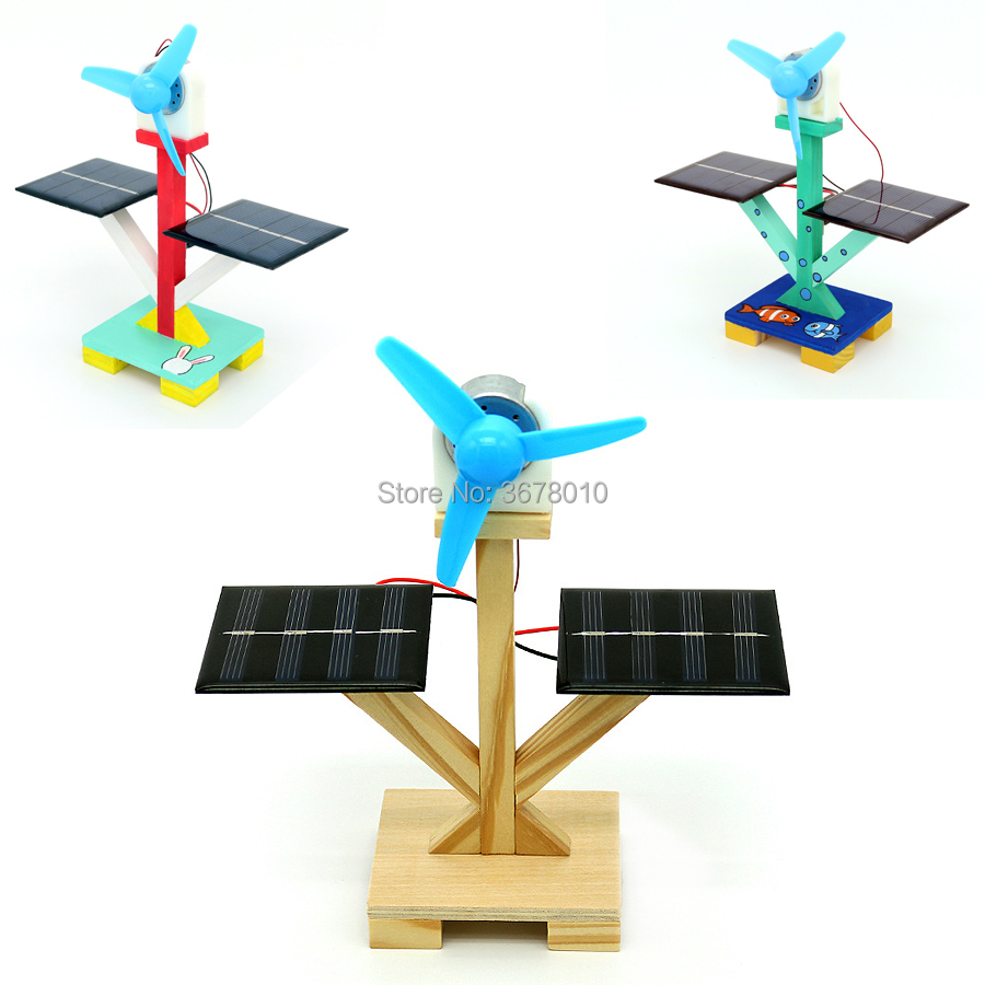 Cool DIY Invention Wooden Small Solar Fan Creative Handmade Assembly Model Kit Science Experiment Discovery Educational Toys