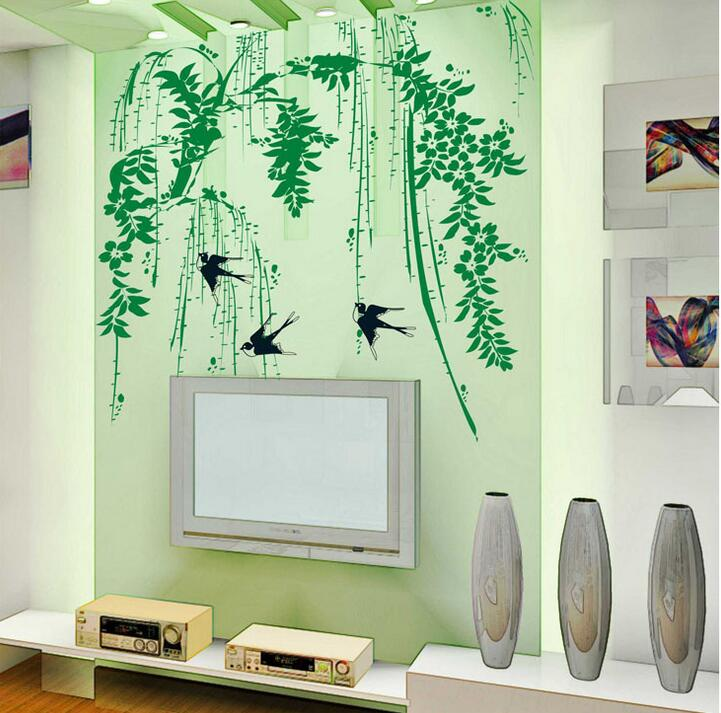 Lifelike Willow Birds Green Tree Wall Sticker Living Rooms Bedroom DIY  Kitchen Adesivo De Parede Bathroom Decoration Home Decor