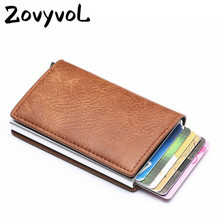 ZOVYVOL Men Aluminum Wallet With Back Pocket ID Card Holder RFID Blocking Mini Slim Metal Automatic Pop up Credit Co