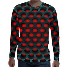 Футболка мужская футболка уличная странные вещи Мода Funny осень Забавный 3D принт круглый вырез длинный рукав Повседневная футболка Z4